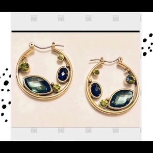 Gold hoop earrings with green crystals NEW